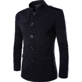 7a41a28aabf Men Leisure Stand Collar Suit Tunic Elegant Zhongshan Coat, Size: M(Black)