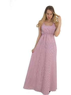 a6a3729b77 Maxi ριγέ φόρεμα Coocu κόκκινο χιαστί πλάτη.