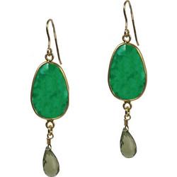 Jt Ασημένια σκουλαρίκια δάκρυ πράσινος αχάτης   Swarovski cf7367aaa01