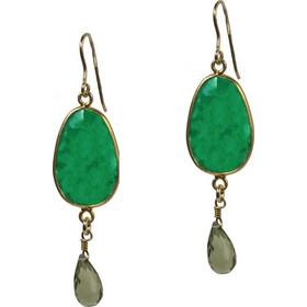 Jt Ασημένια σκουλαρίκια δάκρυ πράσινος αχάτης   Swarovski d403c21643a