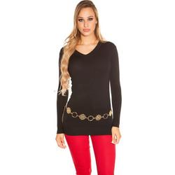 ceb601a52ee5 41921 FS Μακρύ πουλόβερ με V - Μαύρο