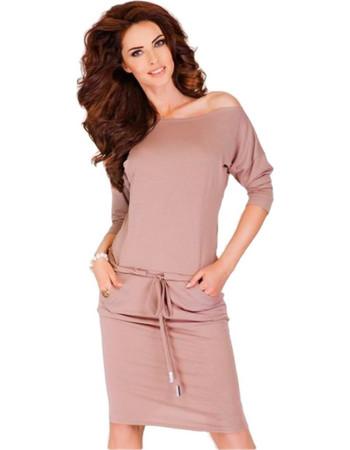 Σπορ φόρεμα με μανίκια 3 4 Numoco - Μπέζ 2802c599949