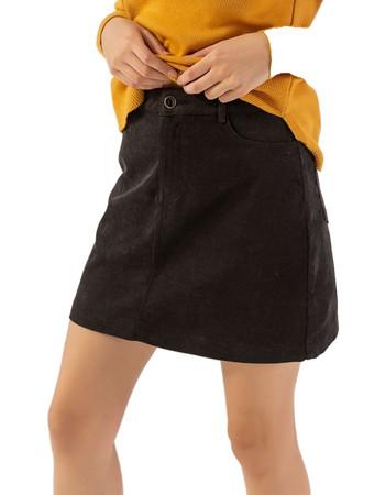 Mini κοτλέ φούστα σε Α γραμμή - Μαύρο 0754e7a8685