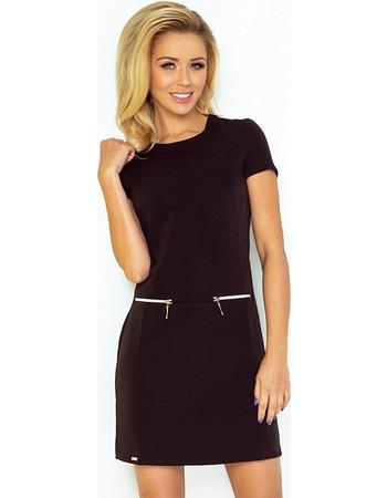 d714ea7f4c34 70070 NU Κοντομάνικο μίνι φόρεμα με φερμουάρ - μαύρο