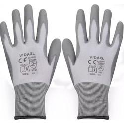 vidaXL Γάντια Εργασίας 24 Ζεύγη Λευκό Γκρι Μέγεθος 9 L Πολυουρεθάνη 91c9c7946a5