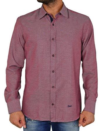 13190b4e04 Ανδρικό πουκάμισο με γεωμετρικό μοτίβο μπορντό Ben tailor 240516