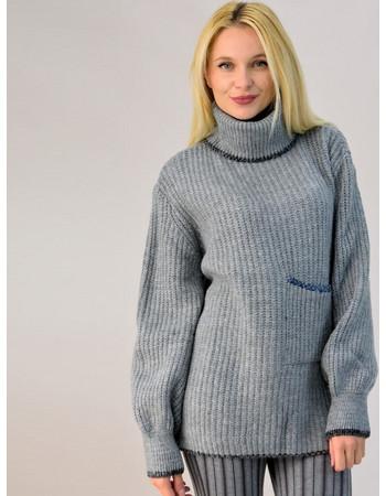 88155b46442f Πλεκτό πουλόβερ oversized με τσέπη