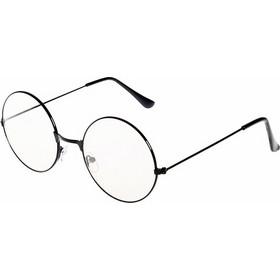 27690cead6 Retro Large Round Eyeglasses Metal Frame Anti Blue-ray Plain Glass  Spectacles(Black)