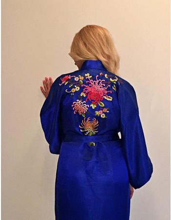 Ρόμπα Σατέν Μεταξωτή - Κιμονό Medium - DressingHome - Χρυσάνθεμο - Μπλε 16f4762da04