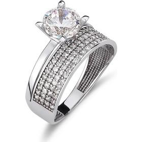 Δαχτυλίδι Μονόπετρο Λευκόχρυσο Με Πέτρες Ζιργκόν - 001996 0a440bb9a13