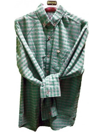 Plaid Shirt Long Sleeve Slim Fit Green Grey 54de067250b