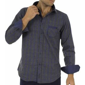4faac59a060f Ανδρικό Καρό Πουκάμισο Φανέλα CND Shirts 850-3 σκούρο Γκρι