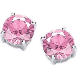 Jt Ασημένια μονόπετρα σκουλαρίκια ροζ ζιργκόν 4mm 53a7912e029