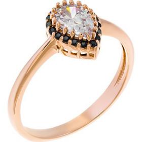 Δαχτυλίδι δάκρυ από ροζ χρυσό 14 καρατίων με λευκό ζιρκόν κεντρικά και  μαύρα περιμετρικά. PSM12794B 548f6ac5ca6