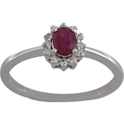 Δαχτυλίδι ροζέτα λευκόχρυσο 18 καράτια με μπριγιάν και ρουμπίνι 19771a66699