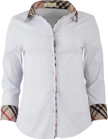 84b8d9934f4a Γυναικείο πουκάμισο μεσάτο καρώ γιακάς.Elegance style.New arrival. ΛΕΥΚΟ