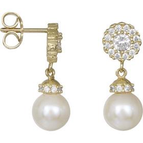Χρυσά σκουλαρίκια ροζέτα Κ14 με κρεμαστό μαργαριτάρι 031799 031799 Χρυσός  14 Καράτια 79d8fef4431