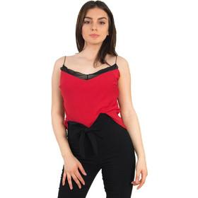 03df40dd5316 Γυναικείο κόκκινο τοπ ραντάκι διαφανές Benissimo 36809C
