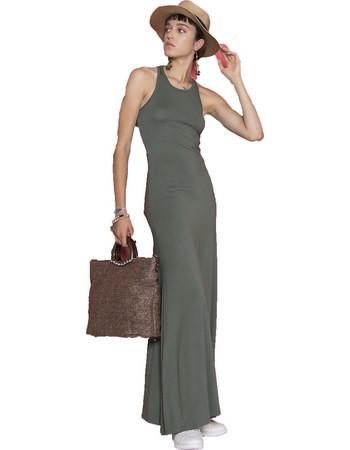 58cbdb5d90c1 Μάξι φόρεμα με σκίσιμο στο πλάι - Πράσινο