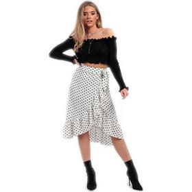 Λευκή πουά μίντι φούστα με βολάν 3ad6eaf4c50