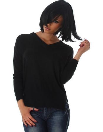 d92d60322e8f 61187 LX Λεπτό πουλόβερ με V - Μαύρο