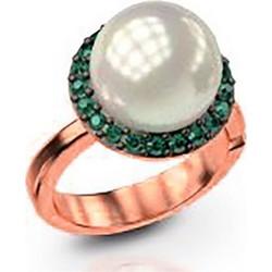 Εντυπωσιακό δαχτυλίδι συλλογή Bridal από ρόζ επιχρυσωμένο ασήμι με  εντυπωσιακή πέρλα και πέτρες swarovski 7a04fd630bf