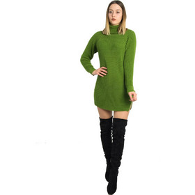 ae9817ad2087 Γυναικείο πράσινο πλεκτό φόρεμα Oversize με ζιβάγκο 233023F