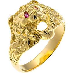 Δαχτυλίδι ανδρικό από χρυσό 14 καρατίων με λιοντάρι διακοσμημένο με ζιρκόν.  HR01827 13726fc26a0