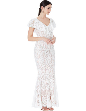 bridal fine chantilly maxi φόρεμα Karen white 84c1cb3748d