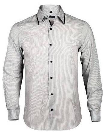 eb020e0b4cd5 Sol s Baxter men 00567 Ανδρικό μακρυμάνικο πουκάμισο σε στενή γραμμή -  WHITE STRIPED BLACK-