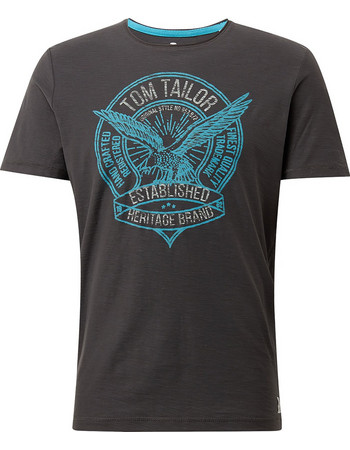 8a8ae06685e6 ΤOM TAILOR ανδρικό μπλούζακι με logo print μπροστά - 1008643 - Ανθρακί
