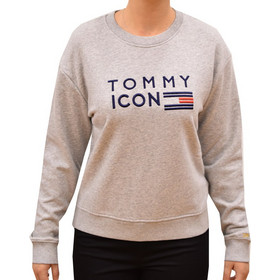 e957bc699afe TOMMY HILFIGER WOMAN ICON LANE C-NK LS LIGHT GREY HEATER