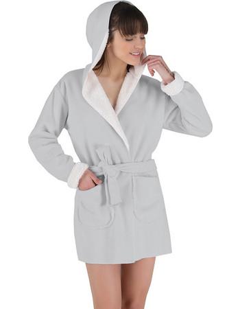 Rachel γκρι fleece γυναικεία ρόμπα με γούνα και κουκούλα 11990 c44f711ea57