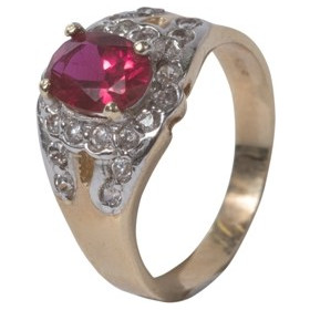 Γυναικείο δαχτυλίδι σε κίτρινο χρυσό Κ14 με λευκά και κόκκινο ζιργκόν 8642d6bde24