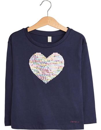 70685e77908 Esprit παιδικό μακρυμάνικο μπλουζάκι με καρδιά από παγιέτες - RM1021309 - Μπλε  Σκούρο