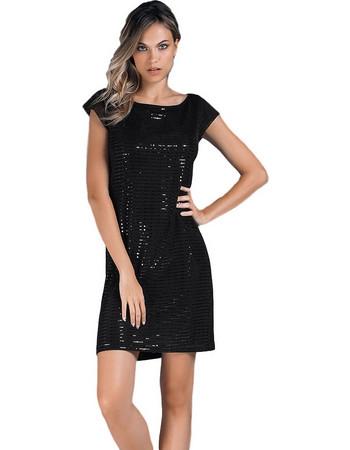 Jadea μαύρο κοντομάνικο βισκόζ mini φόρεμα με παγιέτες Renoir 4847D b36ce6cc6d4