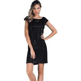 57d08678be00 Jadea μαύρο κοντομάνικο βισκόζ mini φόρεμα με παγιέτες Renoir 4847D