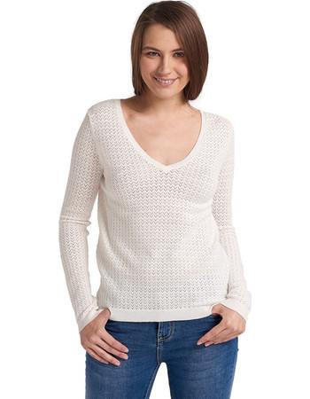 316950efe811 Μπλούζα πλεκτή με τρυπητό pattern - Λευκό