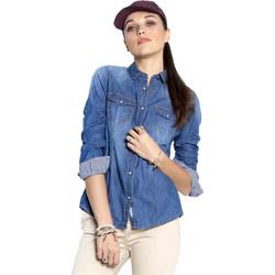 ccdefaa21b59 Τζιν πουκάμισο με καρώ εσωτερική λεπτομέρεια - Μπλε