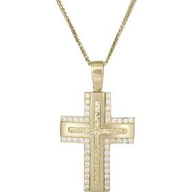 Βαπτιστικοί Σταυροί με Αλυσίδα Χρυσός σταυρός με αλυσίδα Κ9 με λευκές  ζιργκόν 029485C 029485C Γυναικείο Χρυσός 52dbb165efd