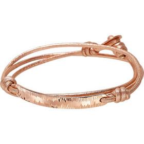 Βραχιόλι Vogue ροζ χρυσό ασήμι 925 με μπεζ κορδόνι 0210332 a1bdfa23e4b