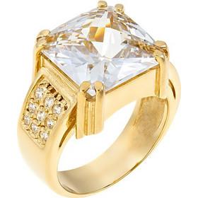 Εντυπωσιακό μονόπετρο δαχτυλίδι από χρυσό 14 καρατίων με ένα μεγάλο ζιρκόν  στο κέντρο και μικρότερα στο d39e53e46c2