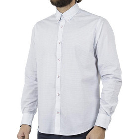 21d5a3b98c03 Ανδρικό Μακρυμάνικο Πουκάμισο Comfort Fit DOUBLE DOUBLE GS-480 Λευκό