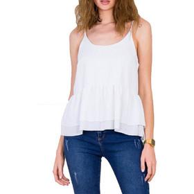 1d27f831ab56 Γυναικείο λευκό τοπ ραντάκι λινό διπλό βολάν 20539E