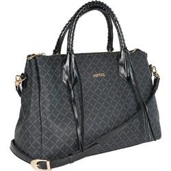 292be56100 Τσάντα Χειρός-Tote La Tour Eiffel Logo-Δέρμα 171005 Μαύρη