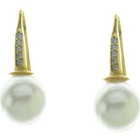 Εντυπωσιακό ζευγάρι σκουλαρίκια από επιχρυσωμένο ασήμι με πέρλα σε small  μέγεθος και πέτρες ζιργκόν bfcf3244593