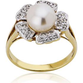 Δαχτυλίδι Λουλούδι Κίτρινο Λευκό Χρυσό Κ14 με Πέτρες Ζιργκόν και  Μαργαριτάρι 002994 769dba0d658