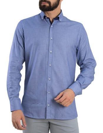 Ανδρικό σιέλ πουκάμισο με μικροσχέδιο Truzi 0191209 9843c72eb66