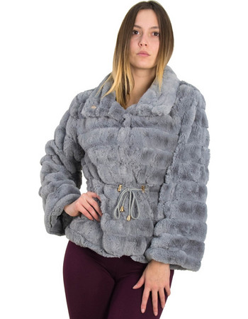 Γυναικείο γκρι γούνινο μονόχρωμο Jacket με κουμπιά SJ6020 efb7353482d