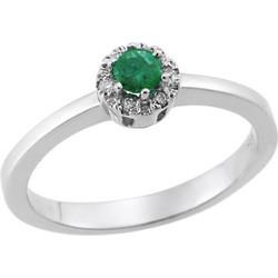 Δαχτυλίδι Ροζέτα με Διαμάντια και Σμαράγδι 18Κ Λευκόχρυσο 0ee741d50f1
